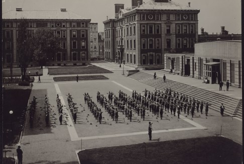 Soldiers exercising north of Low Library.