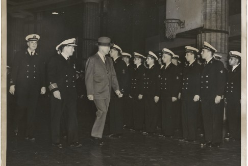 Columbia President Dwight Eisenhower reviewing Columbia NROTC Midshipmen.