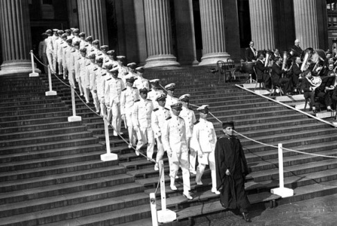 Naval officers receive engineering degrees at Columbia commencement, June 3, 1930