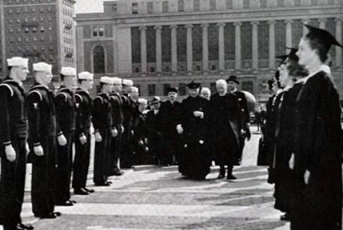 Naval midshipmen in academic procession. The College yearbook, 1944.
