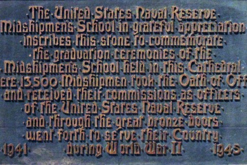 An NROTC plaque on the walls of the Cathedral of St. John the Divine near the Columbia campus.