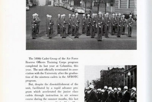 AFROTC members awaiting orders. College yearbook, 1955.