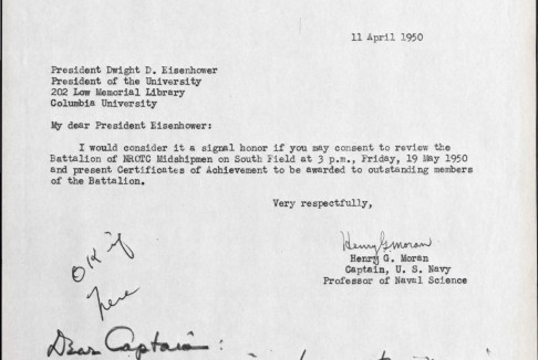 Letter to Columbia President Dwight Eisenhower requesting that he review Columbia NROTC Midshipmen.
